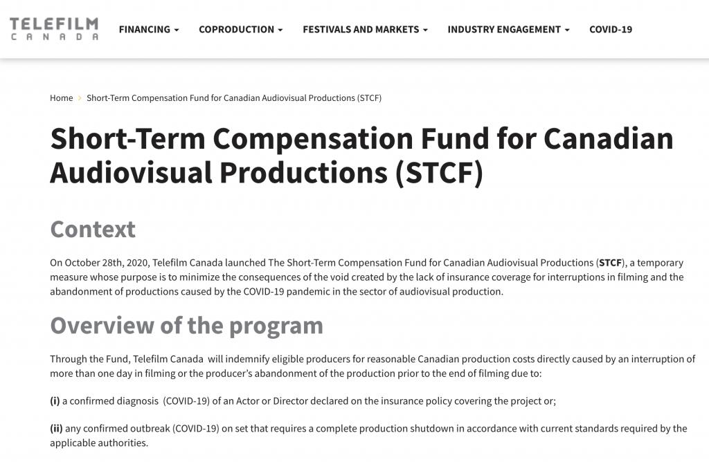 Telefilm fund for COVID-19 insurance